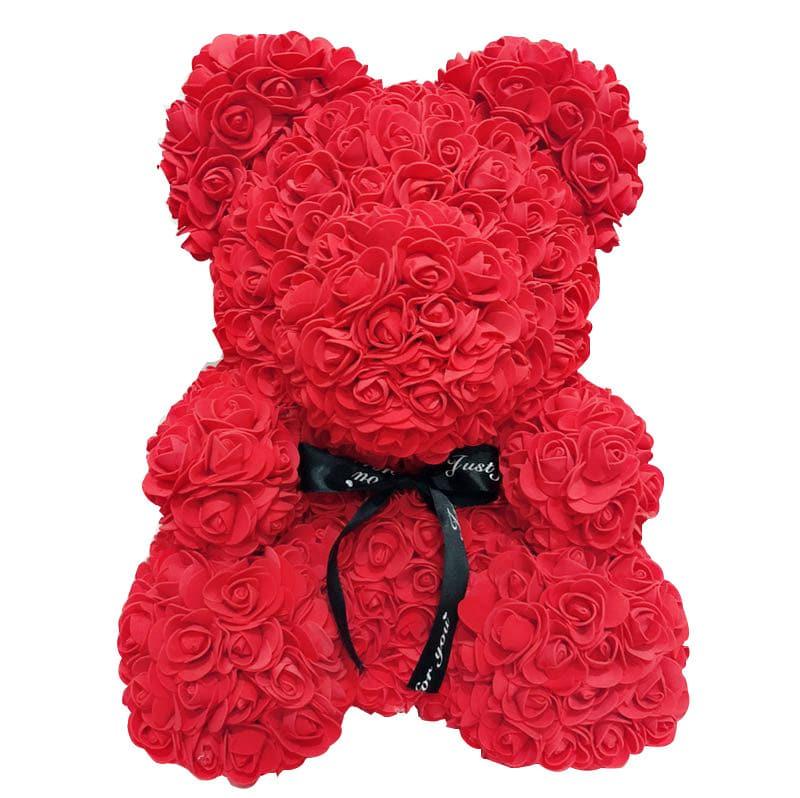 Czerwony miś z róż 40cm